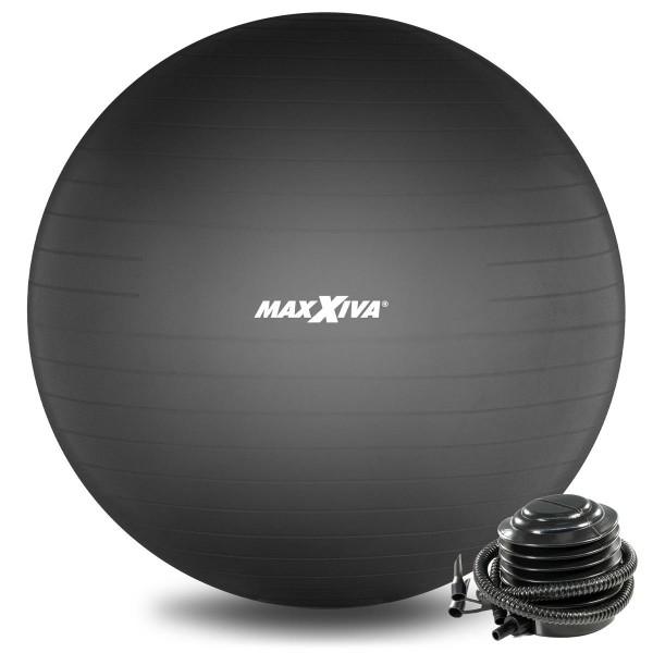 MAXXIVA Gymnastikball Ø 65 cm Schwarz mit Pumpe Sitzball Fitness Yoga Pilates