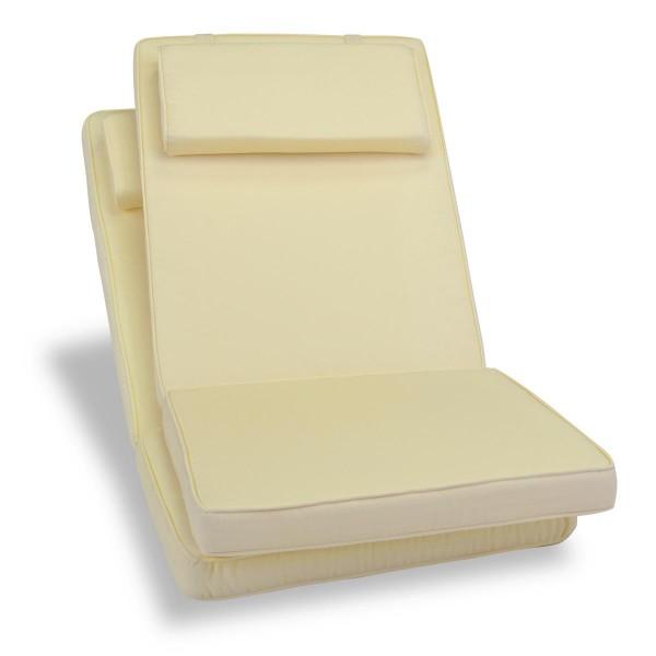 DIVERO 2er Set Sitzauflage Stuhlauflage Auflage Hochlehner Gartenstuhl creme