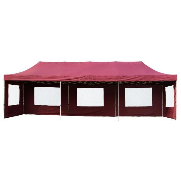 PROFI Faltpavillon Partyzelt 3x9 m burgund mit Seitenteilen wasserdichtes Dach