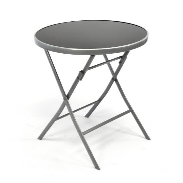 Bistrotisch mit Glasplatte klappbar Terrassentisch Glastisch silber Ø 70cm Stahl