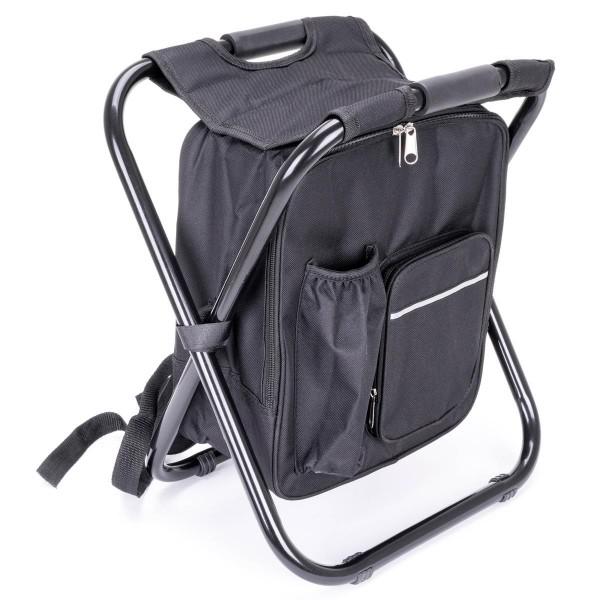 Rucksackhocker Multifunktions-Rucksack Kühltasche Campinghocker faltbar schwarz