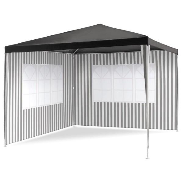 Pavillon 3x3 m in anthrazit PE Plane 2 Seitenteile Partyzelt Gartenzelt Sonnensc