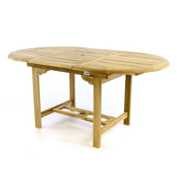 DIVERO Balkontisch Terrasse Tisch Esstisch ausziehbar 170cm Teak Holz natur