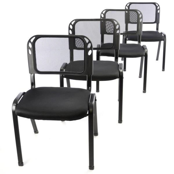Besucherstuhl 4er Set Bürostuhl Konferenzstuhl Sitzfläche schwarz gepolstert