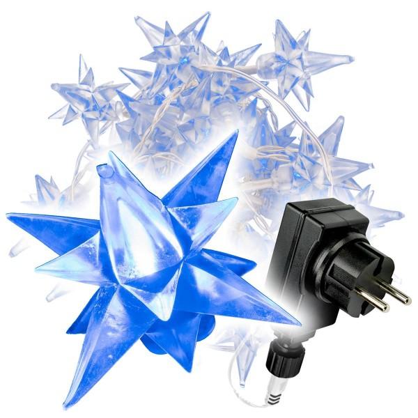 40 LED Sternenlichterkette blau Trafo Timer Weihnachsbeleuchtung Sternenkette