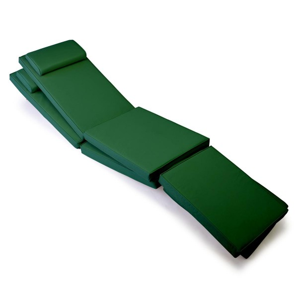 DIVERO 2x Liegenauflage für Deckchair Steamer Liegestuhl-Auflage Polster grün