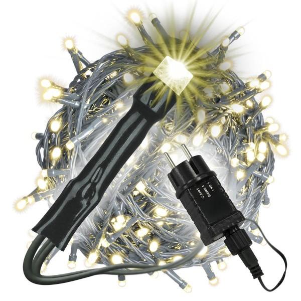 400 LED Lichterkette warm weiß außen Party Deko Trafo Timer grünes Kabel Xmas