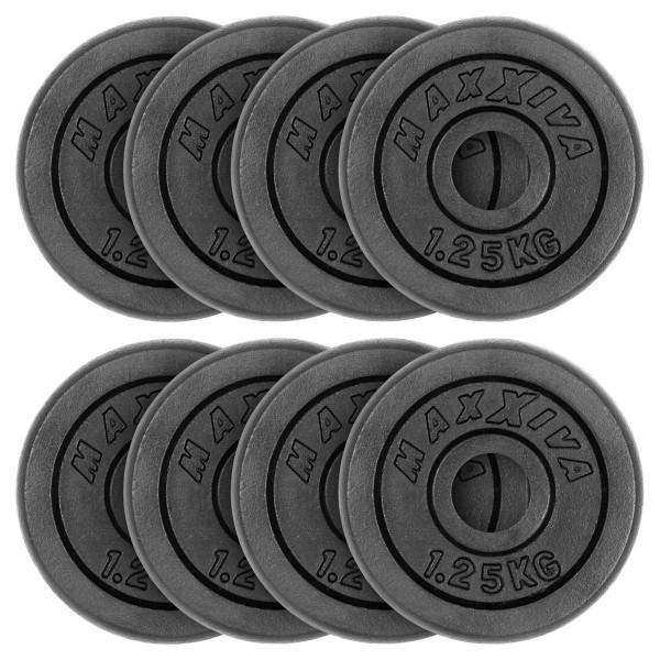 MAXXIVA Hantelscheiben 8er Set Gewichtsplatte je 1,25 kg Gusseisen schwarz 10 kg