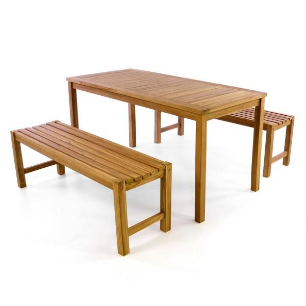 DIVERO Gartenmöbelset Picknickset Sitzgruppe Teakholz behandelt Bank Tisch 150cm
