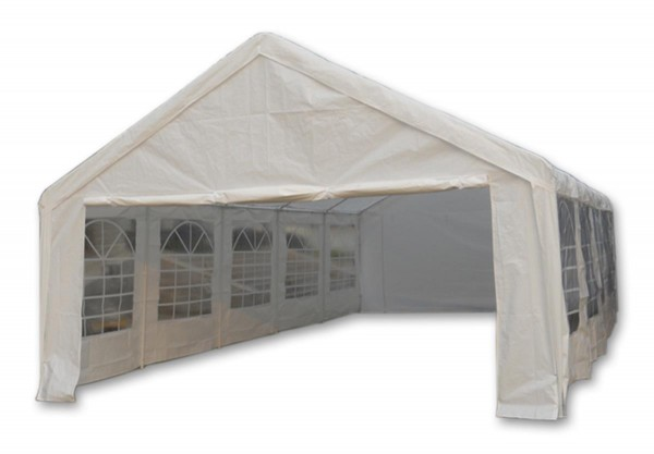 Hochwertiges Festzelt Partyzelt Gartenzelt Pavillon weiß 5x10 m PE wasserdicht