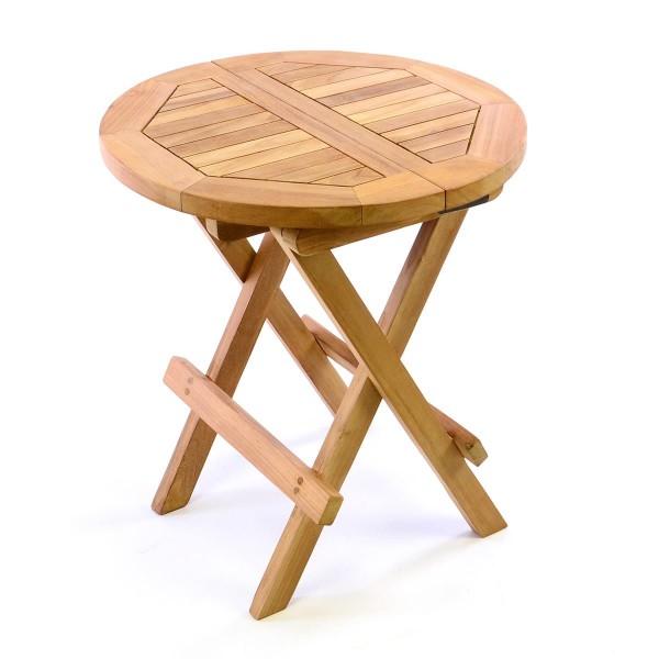 DIVERO Beistelltisch Hocker Tisch klappbar Teak Holz behandelt H 46cm Ø 40cm