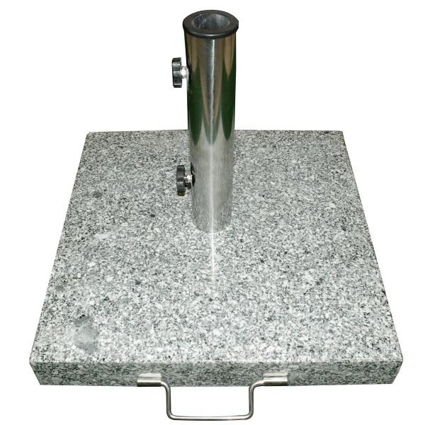 Sonnenschirmständer 40kg Granit poliert grau eckig Edelstahl 50 x 50cm Griff