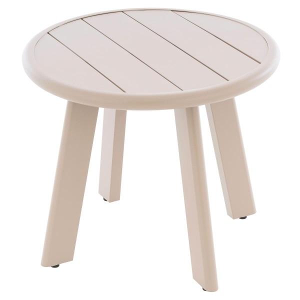 Beistelltisch Aluminium Farbe Beige Terrassentisch Veranda-Tisch 52,5 cm rund