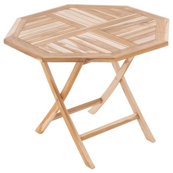 DIVERO Balkontisch Gartentisch Tisch Esstisch Holz Teak klappbar Ø90cm natur
