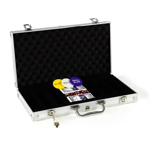 Pokerkoffer leer für 300 Poker Chips Poker Set mit Zubehör Pokerkarten Würfel