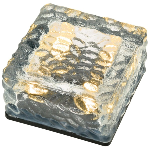 Solar Glasstein 4 LED warmweiß 10 x 10 x 5 cm Dekoleuchte Bodenleuchte