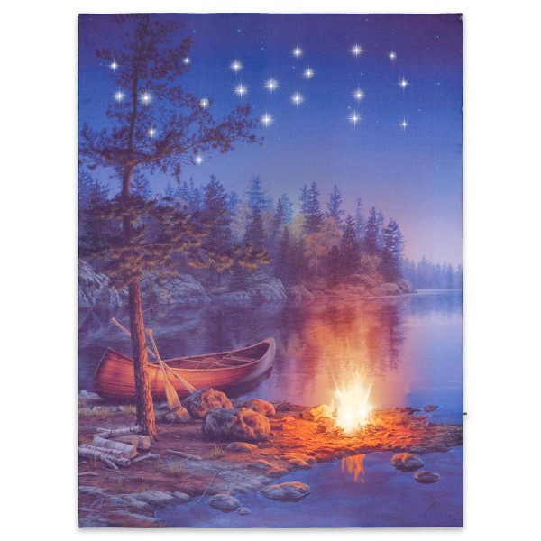 Wandbild mit LED Kunstdruck mit Beleuchtung Kanu 30x40 cm Timer Batterie