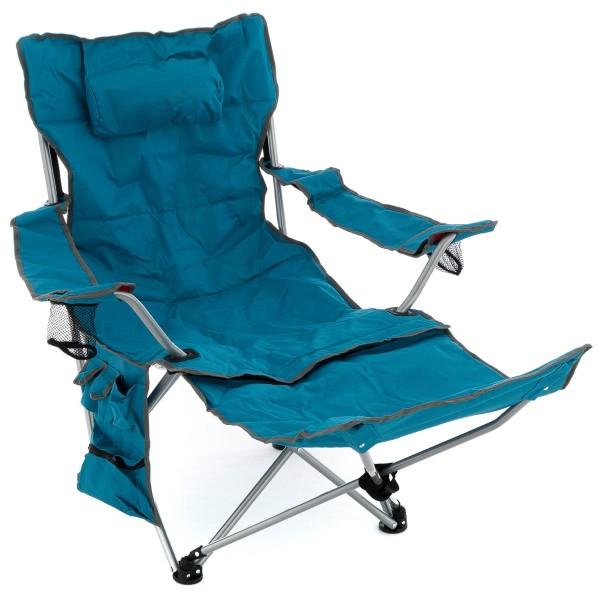 Campingliege Campingstuhl gepolstert Armlehne abnehmbare Fußstütze blau
