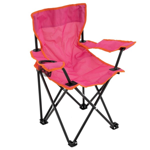 Kinder Campingstuhl Faltstuhl Angelstuhl mit Getränkehalter Tasche stabil pink