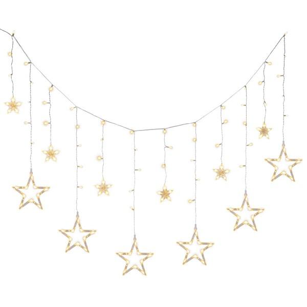 Sternenvorhang 138 LED warm weiß Lichterkette Stern 9 Funktionen Timer Batterie