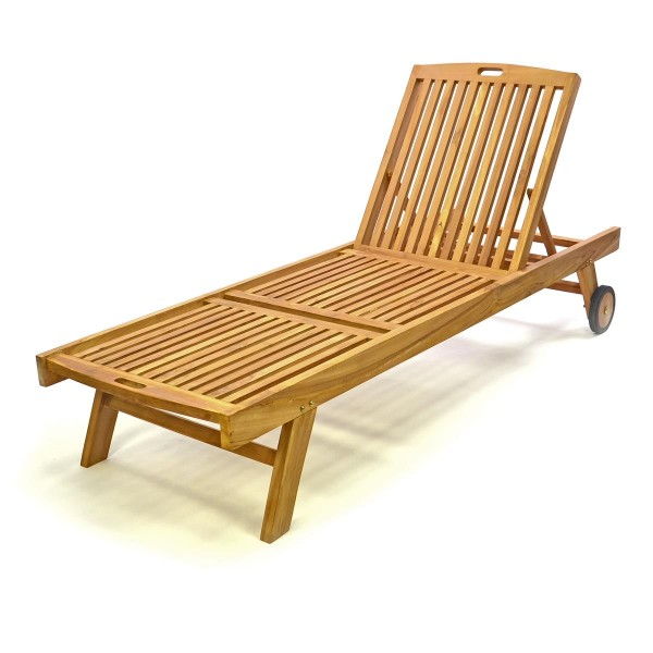 DIVERO Sonnenliege Gartenliege Liegestuhl Räder Teak Holz behandelt