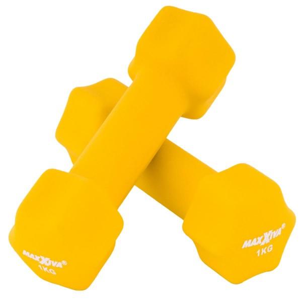 MAXXIVA Hantelset gelb Neopren 2 x 1 kg Kurzhanteln Krafttraining Fitness