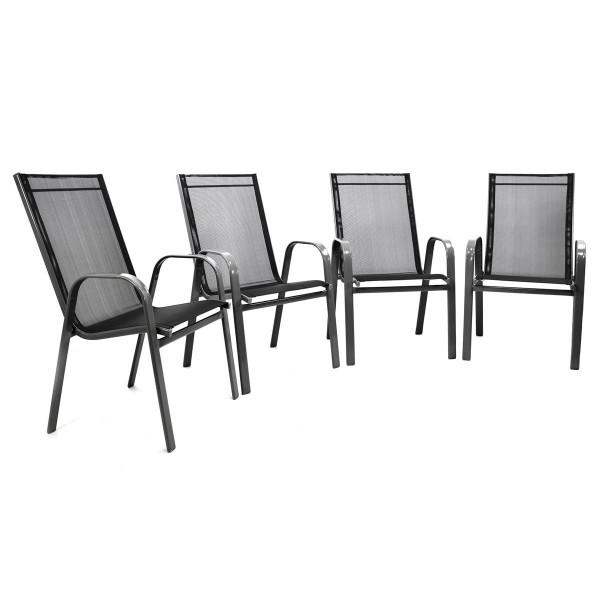 4er Set Gartenstuhl Stapelstuhl Stapelsessel Rahmen dunkelgrau Textilene schwarz