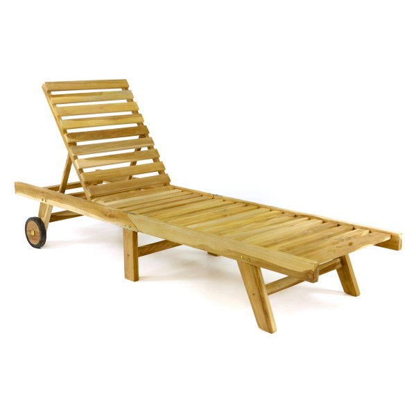 DIVERO Sonnenliege Gartenliege Liegestuhl Teak Holz klappbar natur 200x57cm