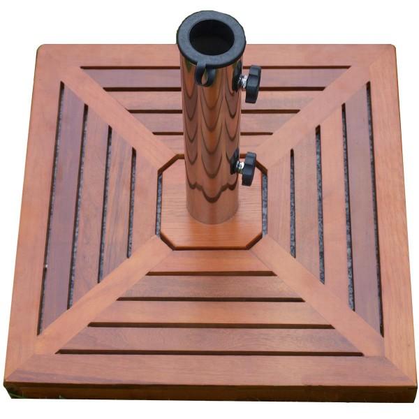 Sonnenschirmständer Holzverkleidung 40 kg Granit eckig 50x 50 cm Edelstahlhülse