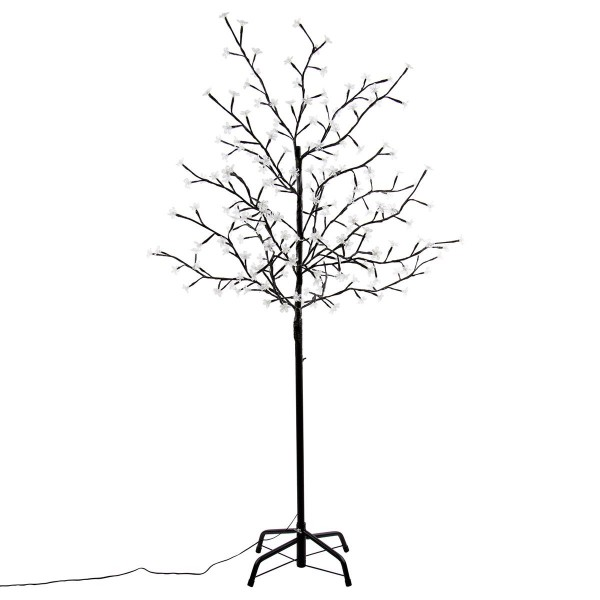 200 LED Baum Lichterzweig mit Blüten kalt weiß Lichterkette 150 cm Blütenbaum Timer