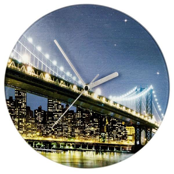 WENKO Wanduhr Brooklyn Bridge analog gehärtetes Glas, 27x3x27 cm 25320100