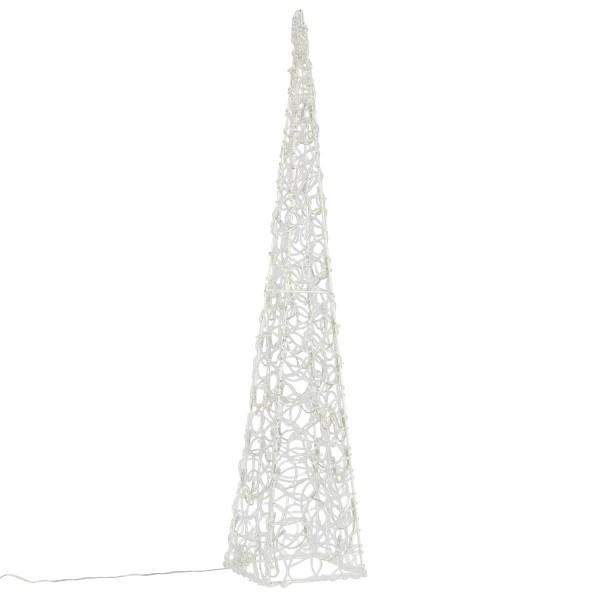 Lichterkegel 60 LED beleuchtete Pyramide Lichtpyramide weiß Acryl Trafo 90 cm Timer