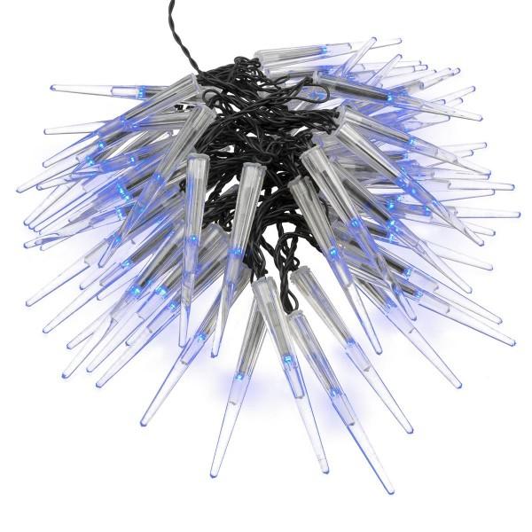 60er LED Eiszapfenkette Lichterkette Eiszapfen blau Trafo schwarzes Kabel Xmas