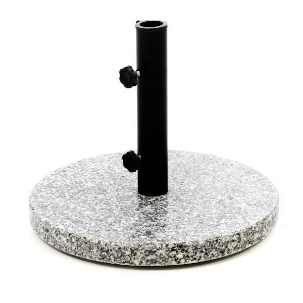Sonnenschirmständer 10kg Granit poliert grau rund Stahlrohr Schirmständer Ø 40cm