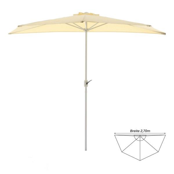 Balkon-Sonnenschirm beige halbrund Gartenschirm Sonnenschutz 2,7m mit Kurbel
