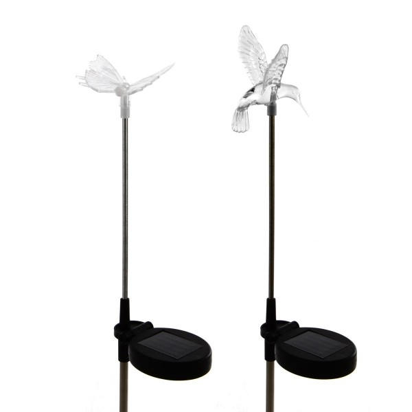 LED SOLAR Erdspieß Wegbeleuchtung Kolibri & Schmetterling