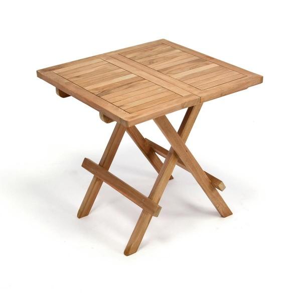 DIVERO Balkontisch Gartentisch Teakholz Beistelltisch klappbar behandelt 50x50
