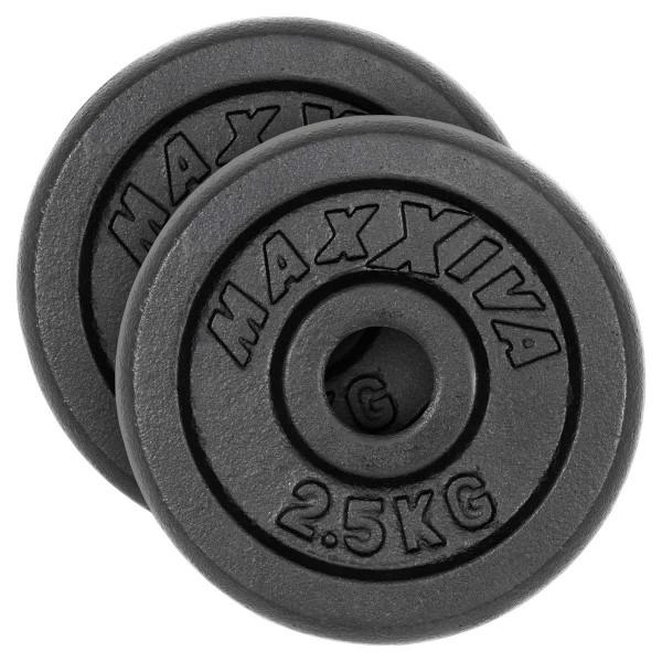 MAXXIVA Hantelscheiben 2er Set Gewichtsplatte je 2,5 kg Gusseisen schwarz 5 kg