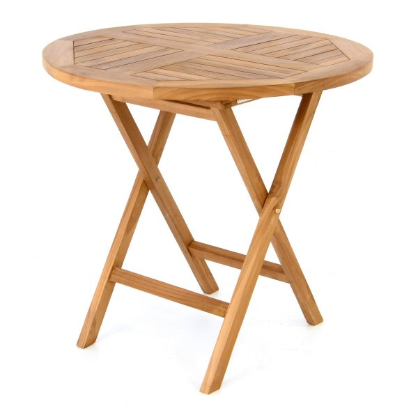 DIVERO Gartentisch Balkontisch Tisch Holz Teak klappbar behandelt Ø80cm