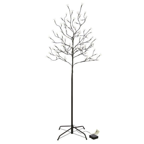 96 LED Baum mit Blüten Blütenbaum Lichterbaum warm weiß 150 cm Batterie Timer