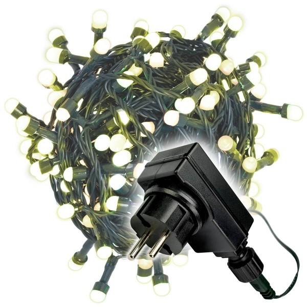 200er Maxi LED Lichterkette warm weiß außen Party Deko Trafo grünes Kabel 30m