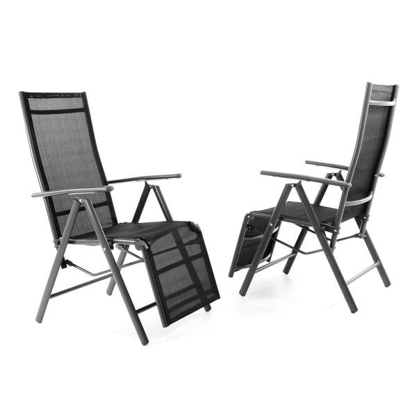 2er Set Alu Liegestuhl Klappstuhl schwarz Fußstütze Sonnenliege Rahmen anthrazit