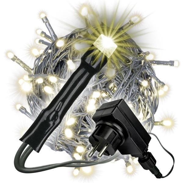 100 LED Lichterkette warm-weiß mit Trafo Timer 6 Funktionen grünes Kabel Xmas