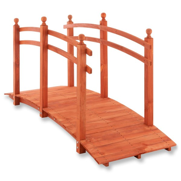 Holzbrücke Teichbrücke mit Geländer rotbraun 235x75x109 cm Gartenbrücke