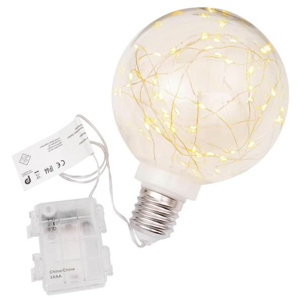 Dekokugel Glühbirne 40 LED warm weiß Ø 15 cm Lichterkugel Batterie Timer