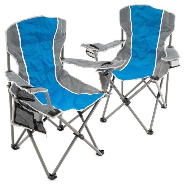 2er Set Campingstuhl Faltstuhl Angelstuhl 2 Getränkehalter Tragetasche blau/grau