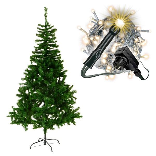 künstlicher Weihnachtsbaum grün 180 cm mit Ständer 200 LED Lichterkette Xmas