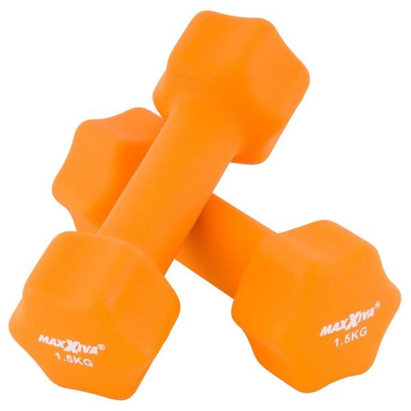 MAXXIVA Hantelset orange Neopren 2 x 1,5 kg Kurzhanteln Krafttraining Fitness