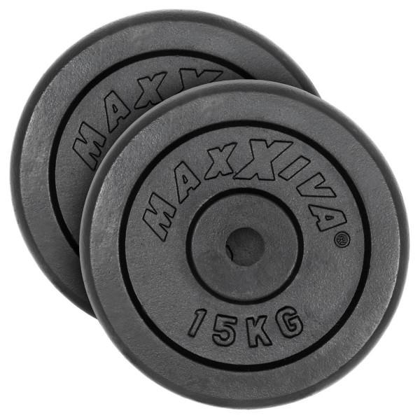 MAXXIVA Hantelscheiben 2er Set Gewichtsplatte je 15 kg Gusseisen schwarz 30 kg