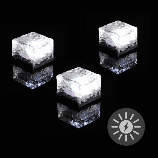 3er Set Solar Ziegel LED weiß Solarlampe Glasstein 7x7x5 cm Bodenleuchte
